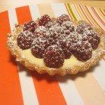 Variation de tarte chocolat blanc framboises