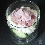 Verrine jambon, fromage, concombre