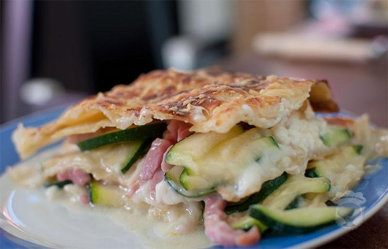 lasagnes chevre courgette lardons